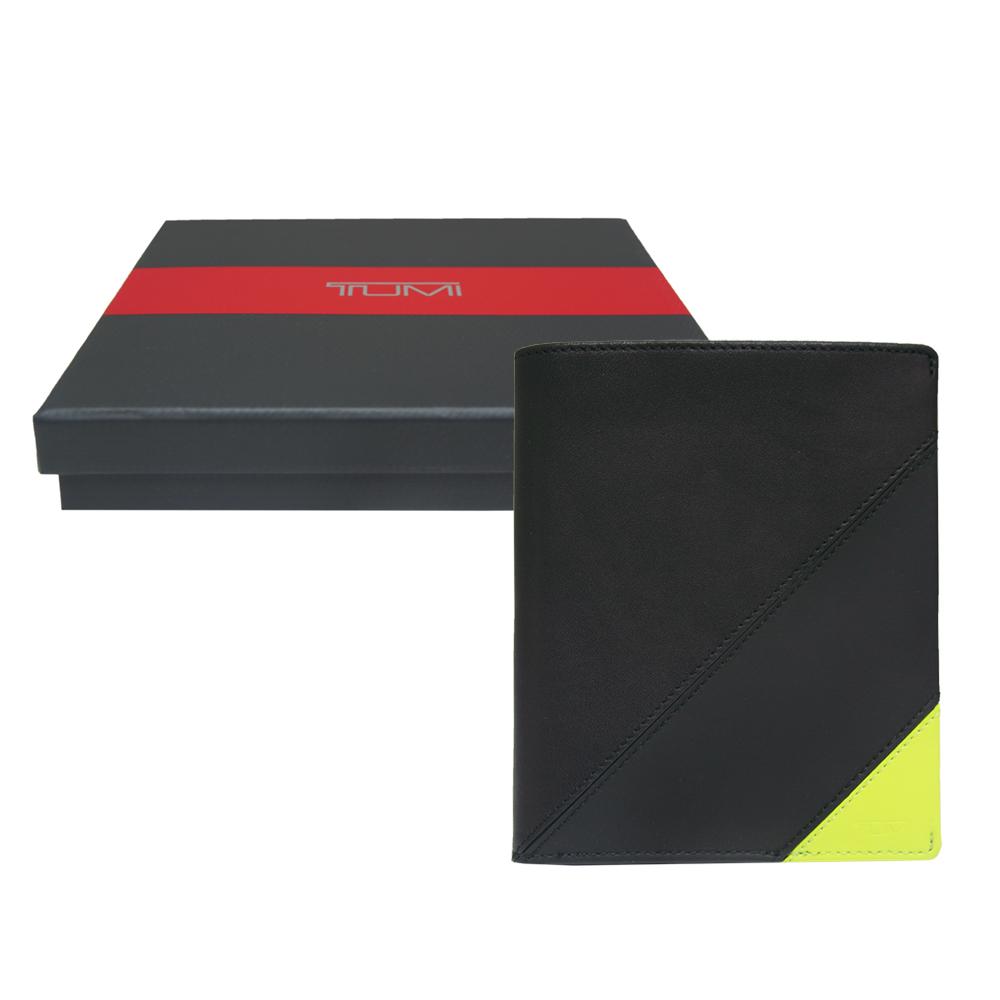 TUMI 撞色拼接牛皮護照夾-黑/黃(附原廠禮盒)