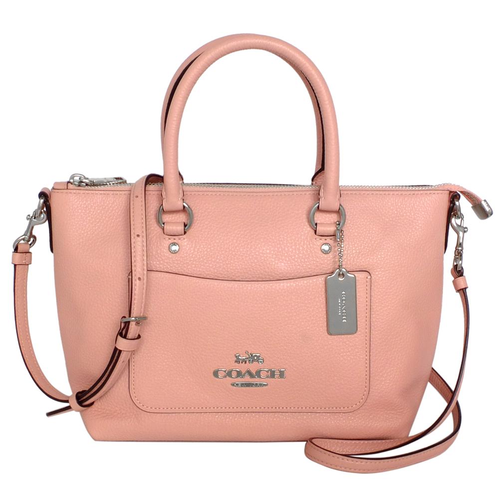 COACH粉紅荔枝紋全皮前口袋手提/斜背小方包