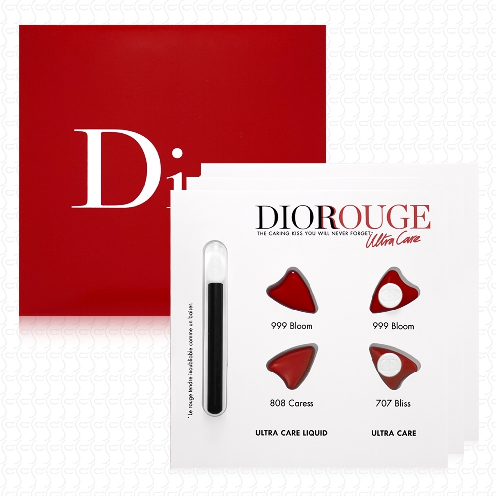 Dior迪奧 超惹火精萃唇膏&絲絨唇露試色卡(2*0.4ml+2*0.4g)*3