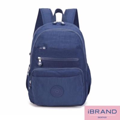 iBrand後背包 輕盈防潑水多口袋尼龍後背包-藍色