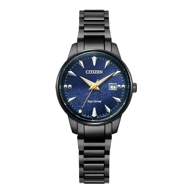 CITIZEN Eco-Drive 星際銀河時尚女錶-黑X藍-EW2598-83L-29.2mm