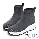 GDC-時髦運動風鑲鑽厚底襪靴-灰色