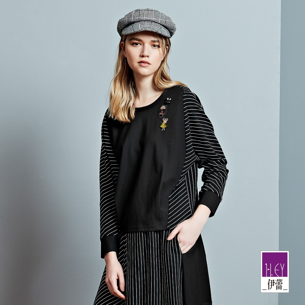 ILEY伊蕾 經典條紋拼接造型刺繡上衣(黑)