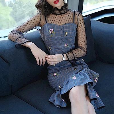 格紋小花不規則荷葉魚尾裙襬洋裝連身裙S-XL-REKO