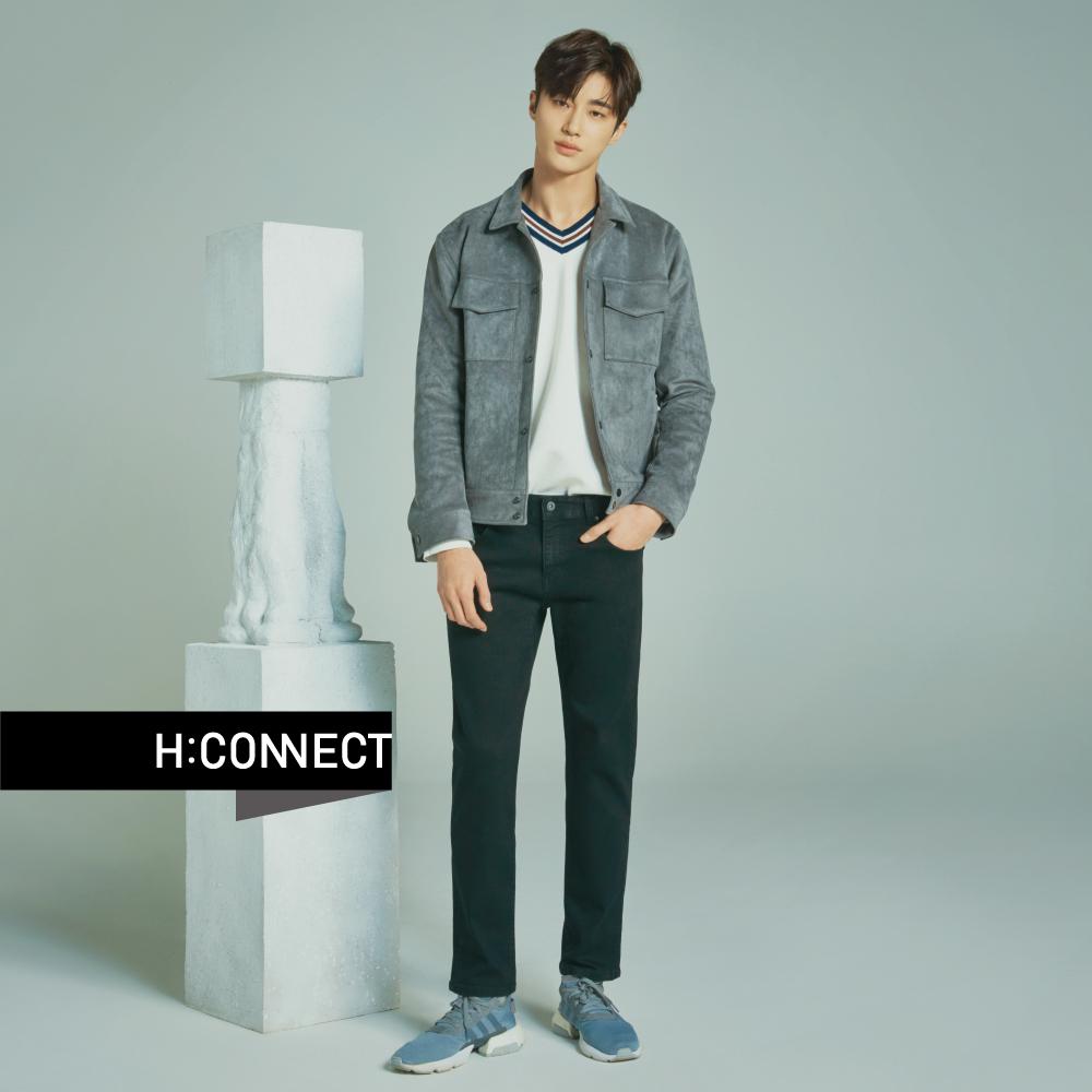 H:CONNECT 韓國品牌 男裝-線條滾邊V領針織衫-黑 @ Y!購物