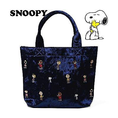 《SHO-BI》SNOOPY絲絨刺繡系列絨面迷你提袋(藍)