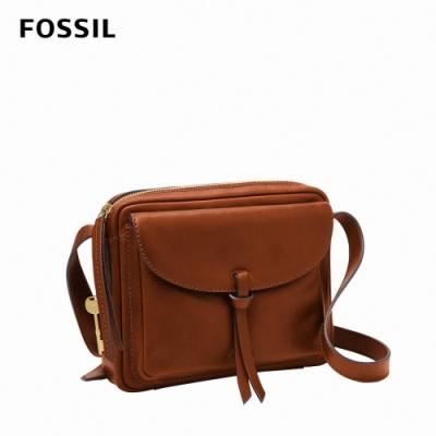 FOSSIL Mila 真皮純色斜背包-棕色 ZB1370213