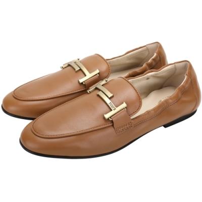 TOD'S Timeless T字銅金釦飾牛皮莫卡辛鞋(棕色)