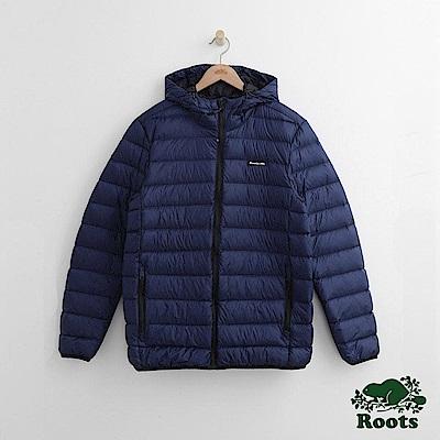 Roots 男裝-經典收納式羽絨外套-藍色