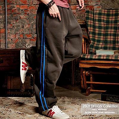 美式outdoor 寬版運動藍二線刷毛棉褲