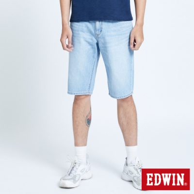 EDWIN 503 五袋式仿舊水洗 牛仔短褲-男-漂淺藍
