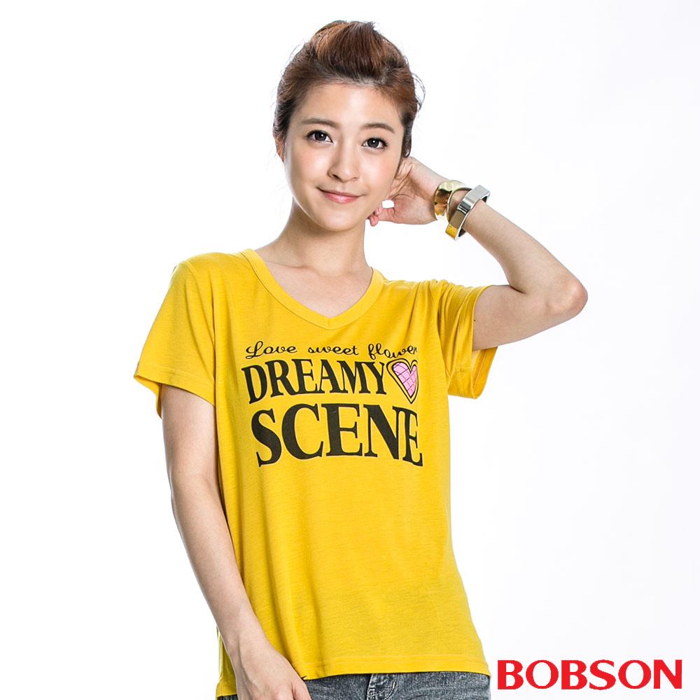 BOBSON 女款SCENE短袖上衣(黃36)