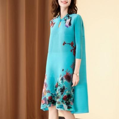 水滴領改良款七分袖旗袍印花壓褶洋裝-F-糖潮