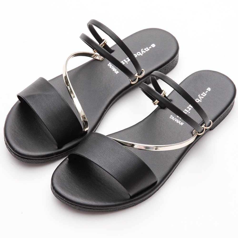 River&Moon拖鞋 台灣製舒適寬版金色斜條2way平底涼鞋 黑