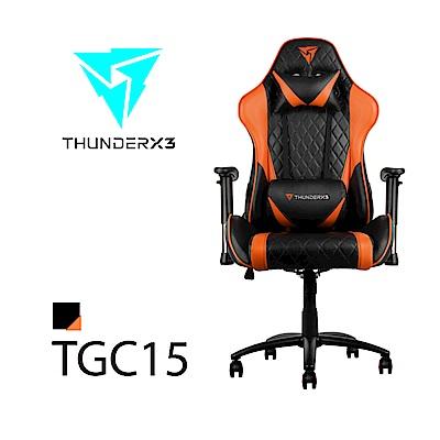 【ThunderX3】TGC15 競速超跑電競賽車椅(黑橘色)