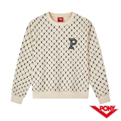 【PONY】重複LOGO 大學T 長袖上衣 女款-白色  棉T