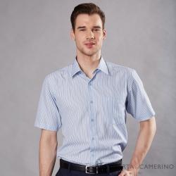 ROBERTA諾貝達 台灣製 吸濕排汗 緹花條紋短袖襯衫 藍色
