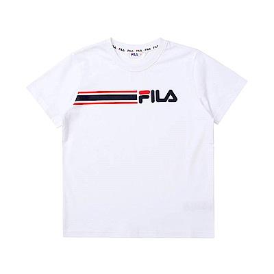 FILA KIDS 童短袖圓領T恤-白色 1TET-4507-WT