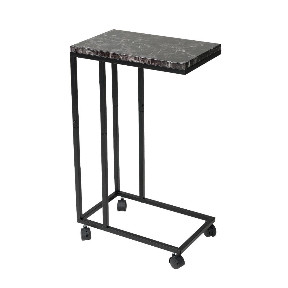 樂嫚妮 簡約電腦床邊桌/NB便利桌/茶几桌-附輪&底腳-大理石黑色