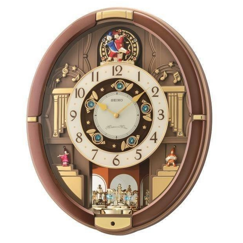 SEIKO 日本精工 整點報時 鈴鐺旋轉 音樂掛鐘(QXM384B)45x38cm