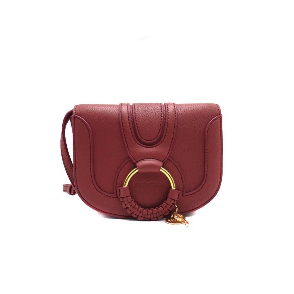 SEE BY CHLOE HANA 編織金屬圈mini斜背包-莓紅