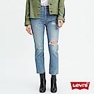 Levis 女款 501 Crop 中腰排釦直筒牛仔長褲 破壞