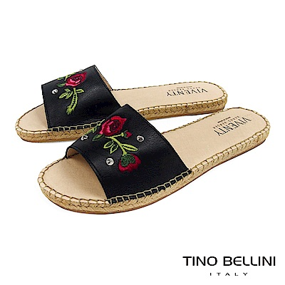 Tino Bellini 西班牙進口電繡玫瑰麻編平底涼拖鞋 _ 黑