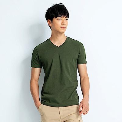 101原創 經典水洗原色V領素T恤-男女適穿-軍綠