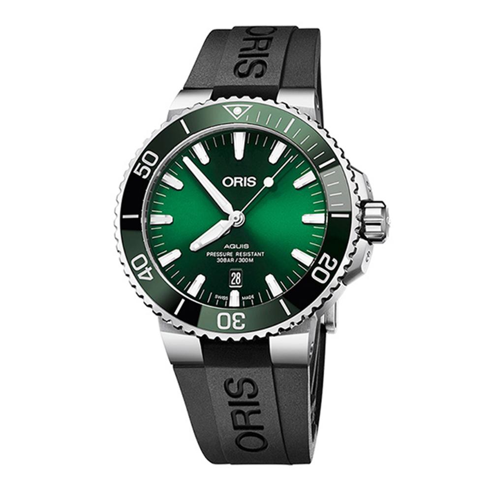 ORIS 豪利時 Aquis 時間之海潛水300米自動上鍊橡膠x綠水鬼x43.5mm