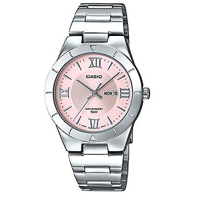 CASIO 經典簡約羅馬指針不鏽鋼錶(LTP-1410D-4A)粉面/31mm