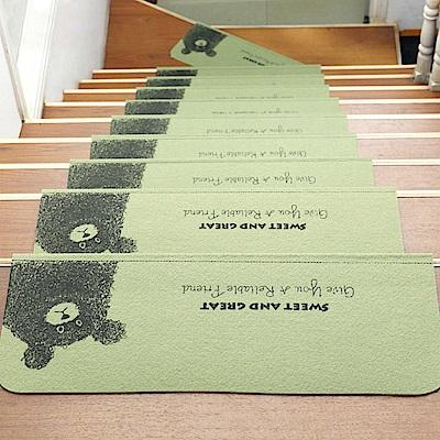 半島良品 可重覆黏貼樓梯止滑墊10入- 小熊 綠色