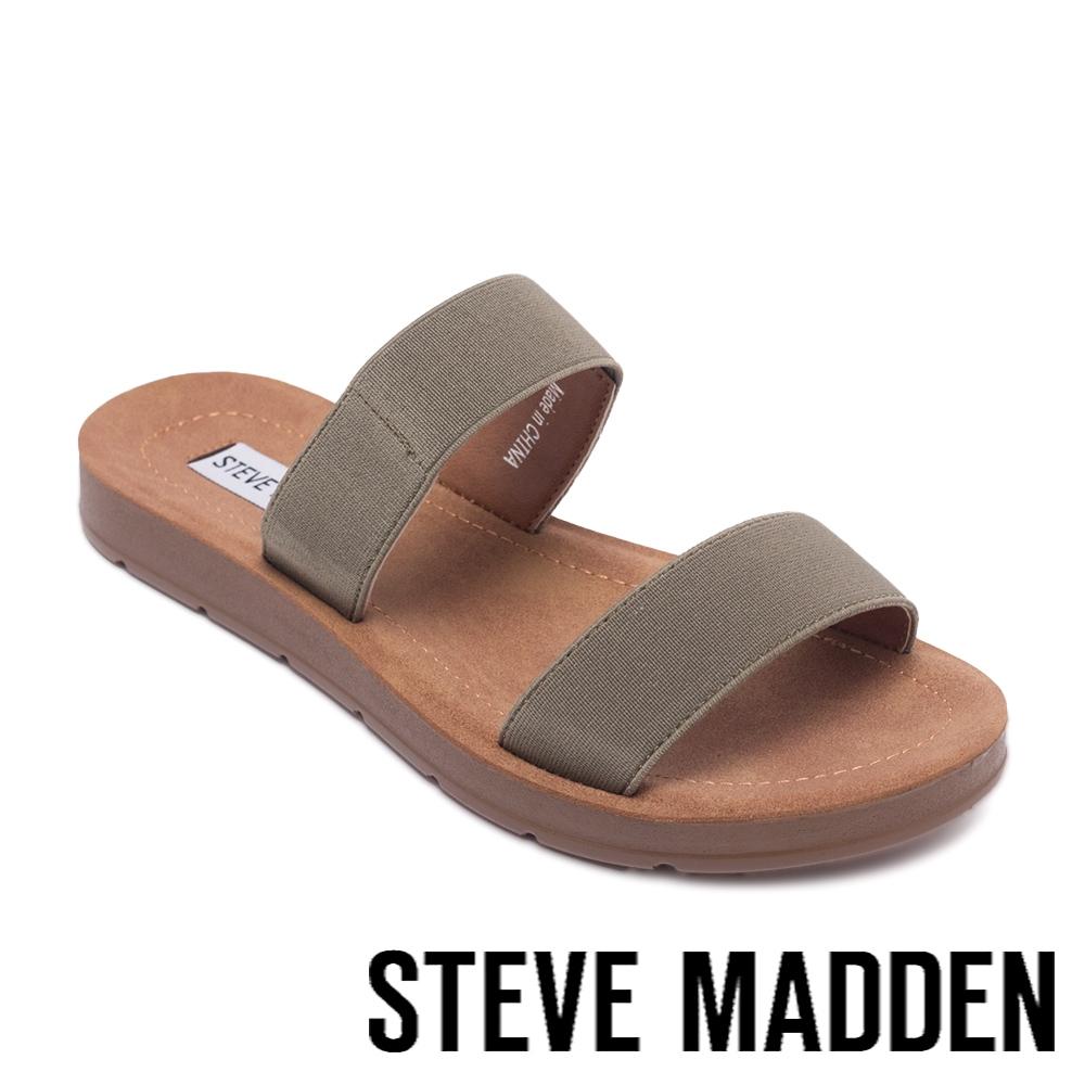 STEVE MADDEN-POSCALE 彈性帶雙帶涼拖鞋-墨綠色