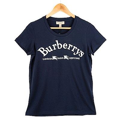 BURBERRY 經典藏徽標繡飾棉質T恤 (深藍)