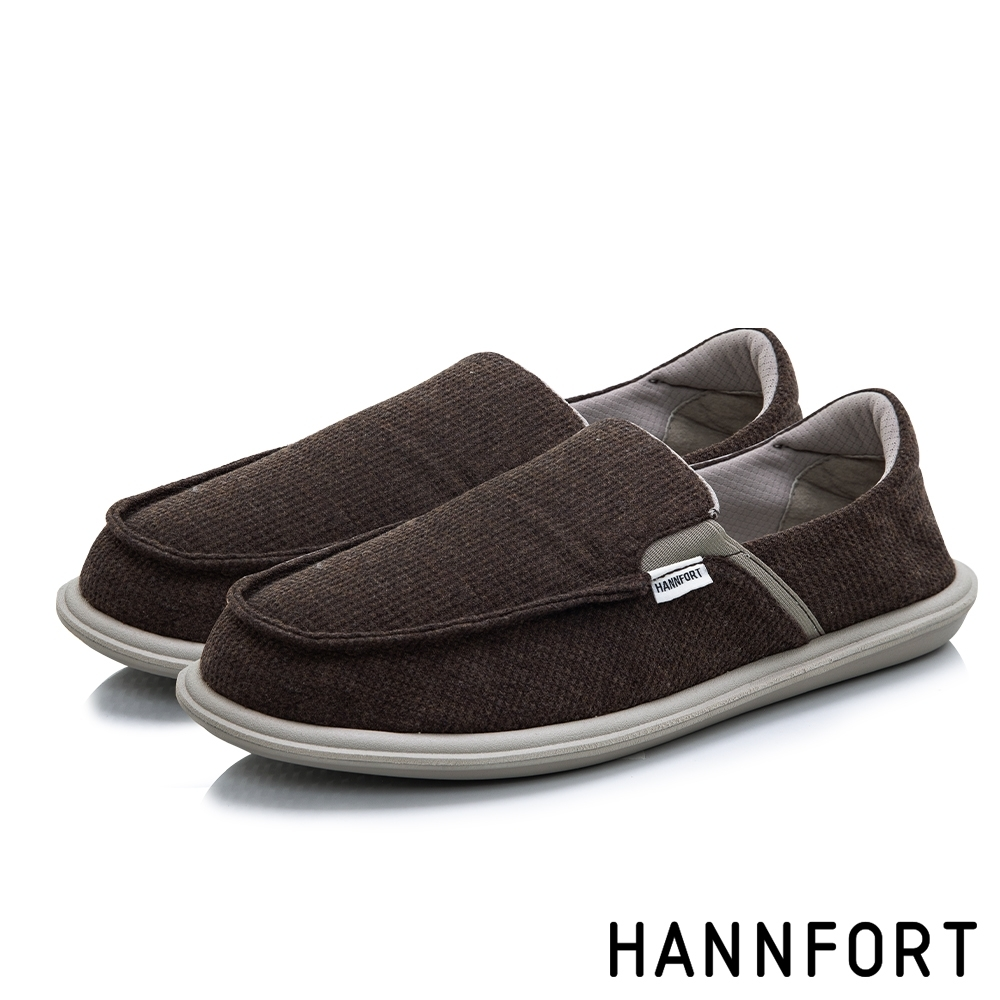 HANNFORT COZY可機洗英倫風格紋布氣墊懶人鞋-男-深咖
