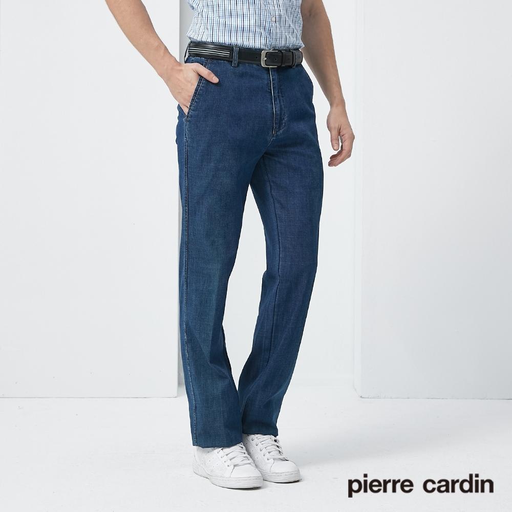 Pierre Cardin皮爾卡登 男裝 微彈性平口牛仔長褲--藍色(5187882-38)