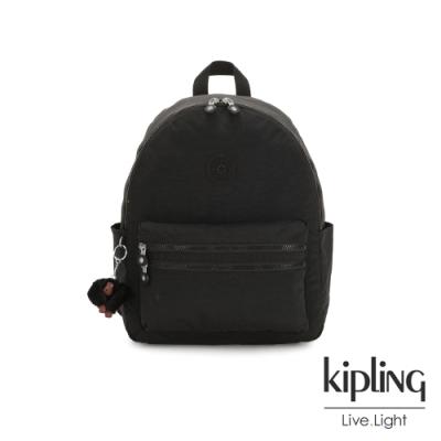 Kipling 質感黑拉鍊後背包-BOUREE
