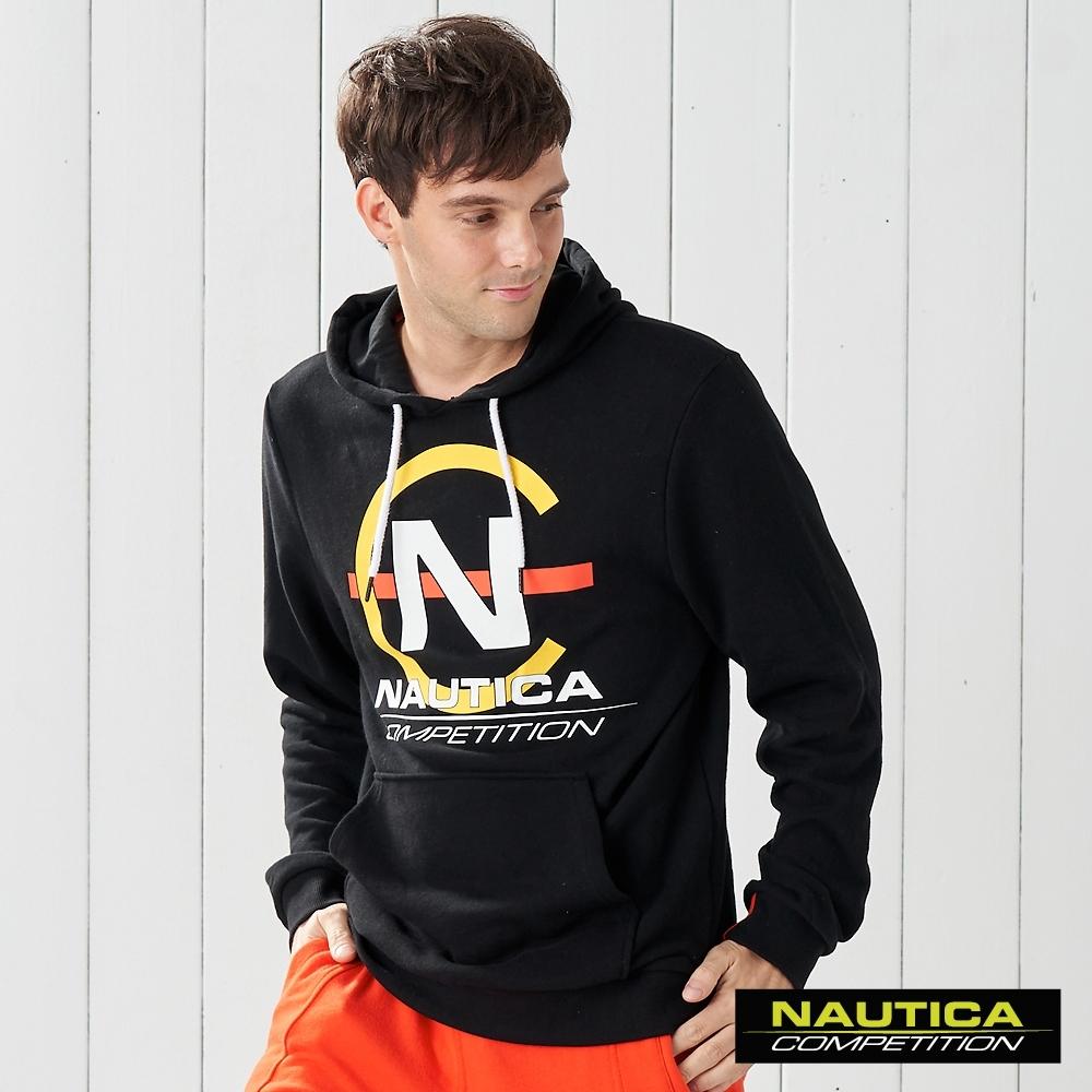Nautica COMPETITION大LOGO連帽長袖T恤-黑色