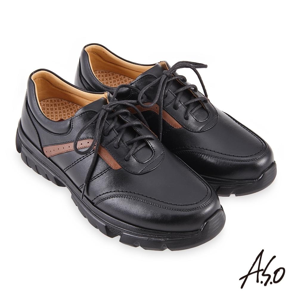 A.S.O 機能休閒 勁步健康綁帶商務休閒鞋-黑