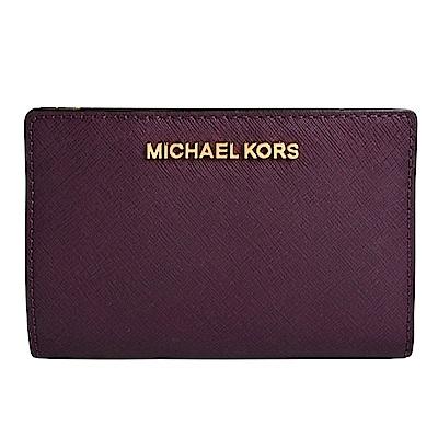 MICHAEL KORS JET SET金字LOGO防刮皮革證件卡夾(附名片夾)-暗紫