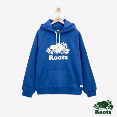 男裝Roots 經典庫柏海狸刷毛連帽上衣-藍色