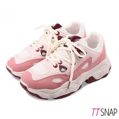 TTSNAP休閒鞋-厚底透氣增高綁帶老爹鞋 紅