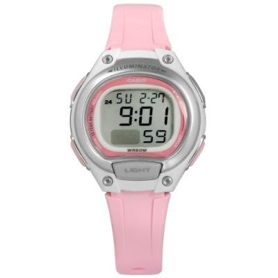 CASIO 卡西歐 小巧電子計時運動兩地時間橡膠手錶-粉白色/34mm