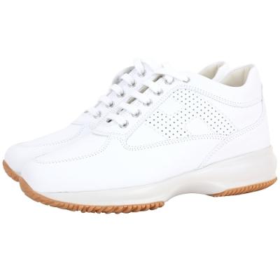 [精品運動鞋限定降] HOGAN Interactive H LOGO 穿孔皮革繫帶老爹鞋(白色)