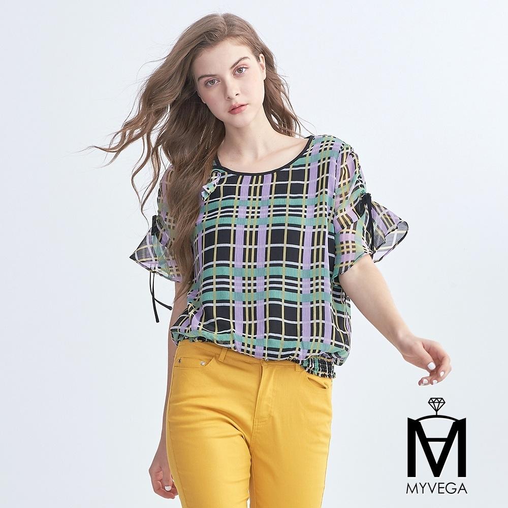 麥雪爾 MA繽紛線條格紋荷葉袖雪紡上衣