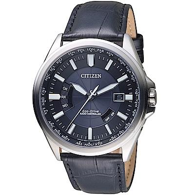 (無卡分期6期)星辰CITIZEN世界城市光動能電波腕錶(CB0180-11L)- 黑皮帶
