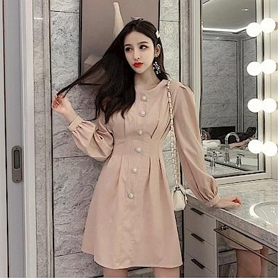 DABI 韓國風圓領單排扣格紋收腰長袖洋裝