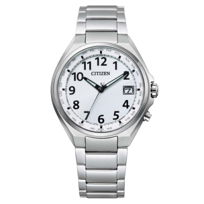 CITIZEN 極簡紳士電波光動能鈦金屬腕錶CB1120-50B