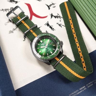 SEIKO 精工 限量款 5 Sports 機械錶 火影忍者 李洛克 尼龍帆布手錶-綠橘色/41mm