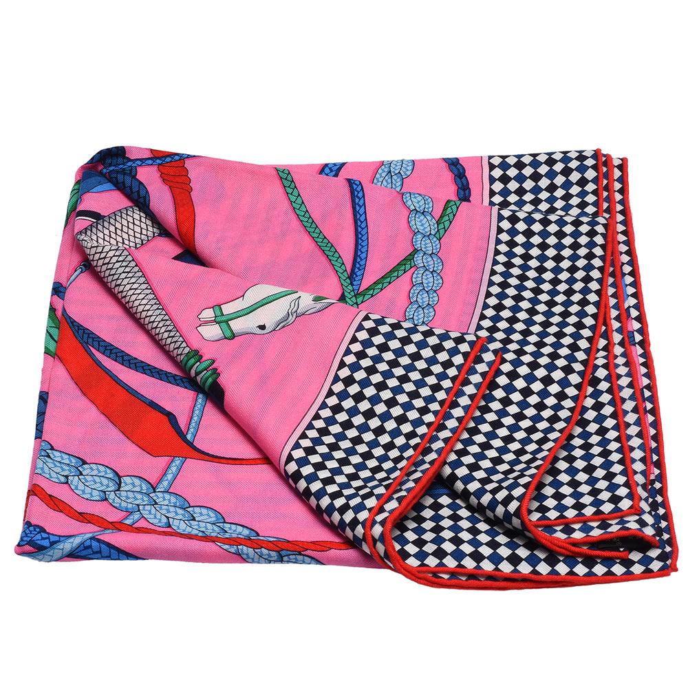 HERMES Fouets et Badines獵鞭圖騰喀什米爾混絲方型披巾/圍巾(玫粉)