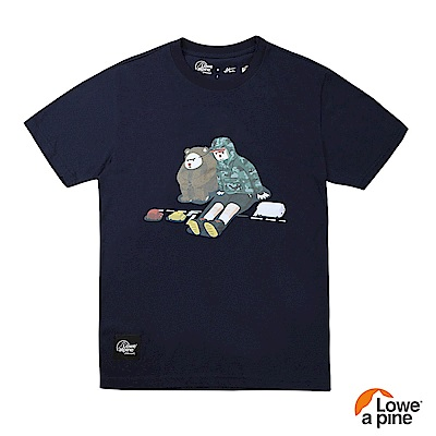 Lowe alpine Silvermark 男款Abei聯名插畫T恤-05 海軍藍
